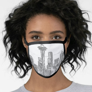 Minimalist Black and White Seattle Skyline Face Mask
