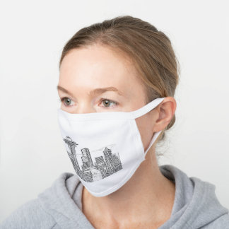 Minimalist Black and White Seattle Skyline White Cotton Face Mask