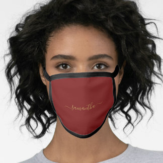 Minimalist Dark Maroon Red Solid Color Wedding Face Mask