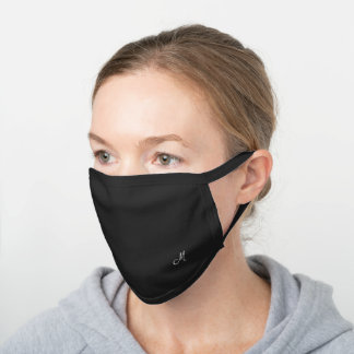 Minimalist Design Black and White Monogrammed Black Cotton Face Mask