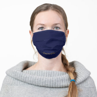 Minimalist Navy Blue Solid Color Personalized Adult Cloth Face Mask