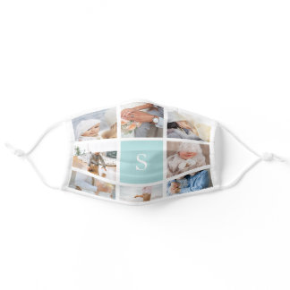 Mint | Create Your Own Photo & Monogram Collage Adult Cloth Face Mask
