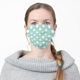 Mint Green and White Large Polka Dot Pattern Adult Cloth Face Mask