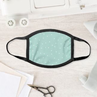 Mint Green and White Random Dot Confetti Pattern Face Mask