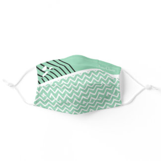 Mint Green Chevron Zig Zag Pattern Personalized Adult Cloth Face Mask