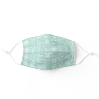 Mint Green Christmas Holiday Snowflake Pattern Adult Cloth Face Mask