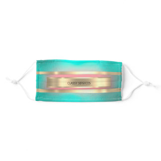 Mint Green Rose Golden Stripes Color Therapy Adult Cloth Face Mask