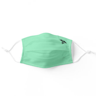 Mint Green solid with Caduceus Symbol Adult Cloth Face Mask