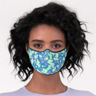 Mint Green Teal Blue Violet Purple Mosaic Art Premium Face Mask