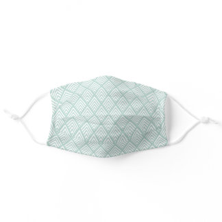 Mint Green & White Geometric Chevron Pattern Adult Cloth Face Mask