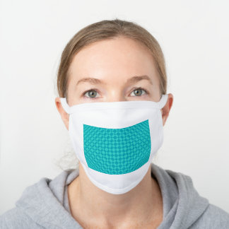 'Mirage' | Teal on Peacock Blue | White Cotton Face Mask