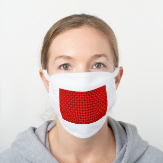 'Mirage' | Vivid Red on Deep Red | White Cotton Face Mask