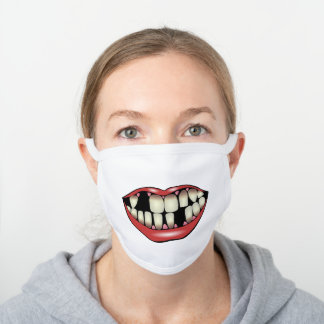 Missing Teeth White Cotton Face Mask