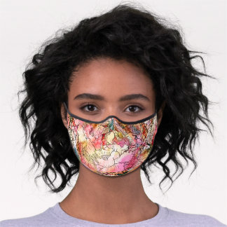 Modern abstract floral watercolor pink red pattern premium face mask
