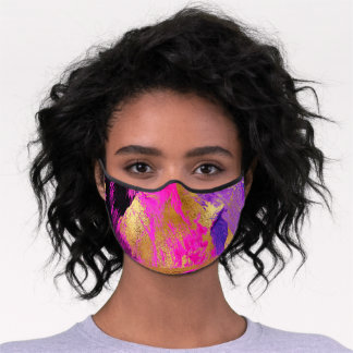 Modern abstract gold pink vibrant brushstrokes premium face mask