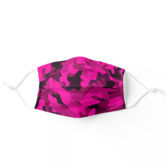 Modern abstract neon pink ombre camo pattern adult cloth face mask