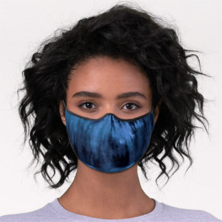 Modern abstract watercolor navy blue tie dye premium face mask