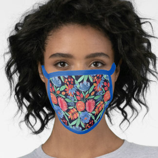 Modern Artsy Coral Blue Floral Watercolor Pattern Face Mask