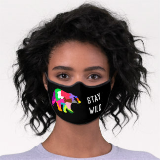 Modern Bear Colorful Silhouette Customized Text Premium Face Mask
