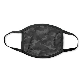 Modern Black and Dark Gray Camo Pattern Face Mask