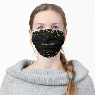 Modern Black and Gold Glitter Personalized Adult Cloth Face Mask