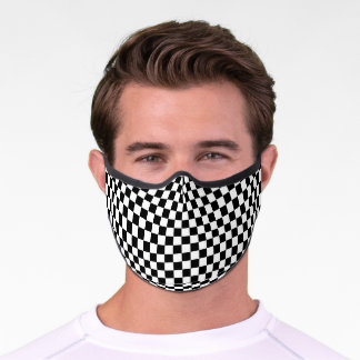 Modern Black and White Checkered Pattern Premium Face Mask