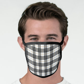 Modern Black & White With Gold Plaid Pattern Face Mask