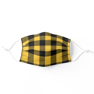 Modern Black & Yellow Buffalo Plaid Check Pattern Adult Cloth Face Mask