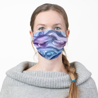 Modern Blue and Purple Ink Wash Bubble Abstract Adult Cloth Face Mask