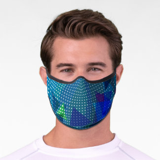 Modern Blue & Green Geometric Cool Pattern Unisex Premium Face Mask