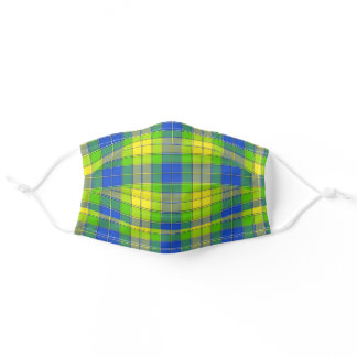 Modern Blue Green Yellow Plaid Spring Stripe Adult Cloth Face Mask