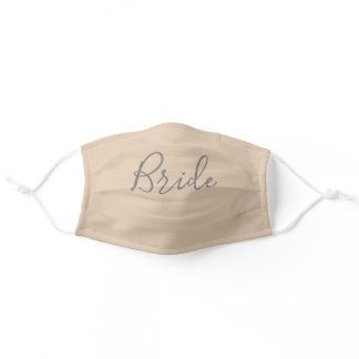 Modern Bride Calligraphy Script Beige  Adult Cloth Face Mask