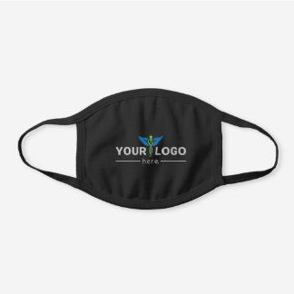 Modern Company Logo White Black Cotton Face Mask