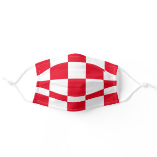 Modern Croatian Bold Red Checkerboard Pattern Adult Cloth Face Mask