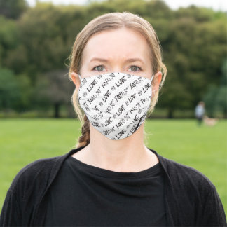 Modern Cute Black and White Heart Love Pattern Adult Cloth Face Mask