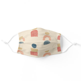 Modern Desert Toned Geometric Shapes Adult Cloth Face Mask
