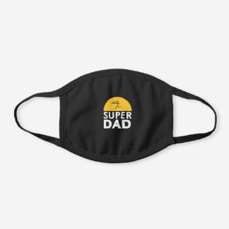 """Modern Design """"SUPER DAD"""" Father's Day Party Black Cotton Face Mask"""