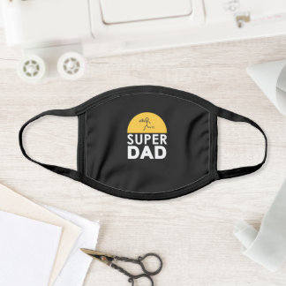 "Modern Design ""SUPER DAD"" Father's Day Party Black Face Mask"