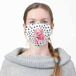 Modern Exotic Pink Watercolor Flamingo & Dots Adult Cloth Face Mask
