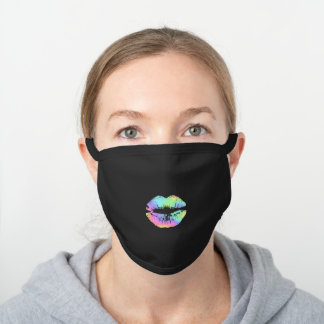 Modern Faux Holographic Colorful Rainbow Kiss Lips Black Cotton Face Mask