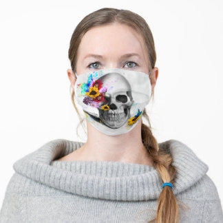 Modern floral butterfly sugar skull adult cloth face mask