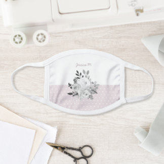 Modern Floral Pink & White Personalized Watercolor Face Mask