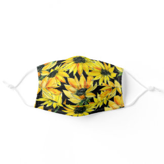Modern Floral Yellow Watercolor Sunflowers Black Adult Cloth Face Mask