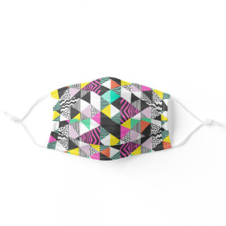 Modern Geometric Patchwork Abstract Triangles Adult Cloth Face Mask