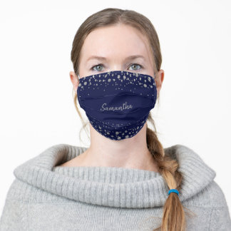 Modern Glam Navy Blue and Silver Glitter Adult Cloth Face Mask