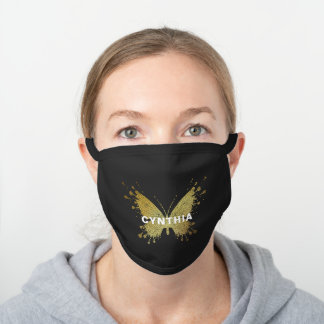 Modern Gold Butterfly Personalized Black Cotton Face Mask