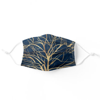 Modern Gold Tree Silhouette Minimal Blue Design Adult Cloth Face Mask