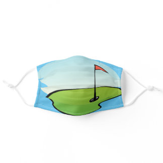 Modern Golf Green Hole In One Golf Ball Adult Cloth Face Mask