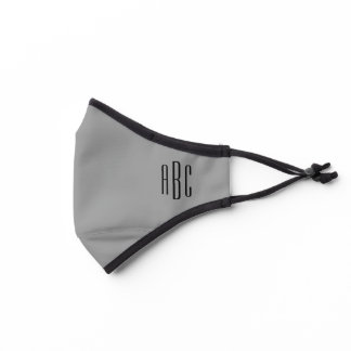 Modern Gray and Black Simple Three Letter Monogram Premium Face Mask
