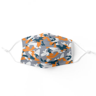 Modern Gray and Orange Camouflage Adult Cloth Face Mask